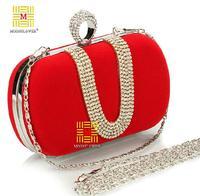 Rhinestone Studded Evening Party Women's Dress Handbag Fashion Velvet Banquet Day Clutches Mobile Phone Mini Bags 4 Colors X010