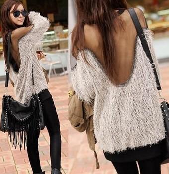 Drop Ship Women Tops Fashion 2013 sweater Black & White Sexy Raglan Sleeve Transparent MESH Fur Korean White Sweater Hot