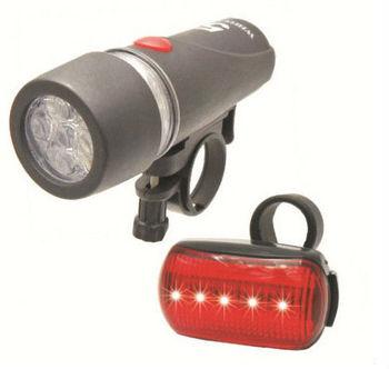 Ultra Bright Waterproof 5 LED Bike Front Light + 5 LED Rear Flashlight
