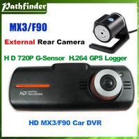 F90 MX3 H.264 Dual Lens Car DVR GPS G-Sensor Full HD1920x1080p 20FPS 2.7 HDMI External Rear Camera video recorder AllWinner F20