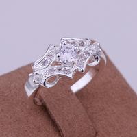FSR146 2014 Fashion Silver Rings CZ Diamonds Wedding Ring Band For Women