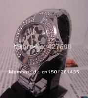 1pcs Fashion gold silver women lady watches bangle stainless steel imitated diamond wristwatch+leopard print