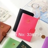 Free Shipping Sweet paper clip bow hasp passport cover magnetic clip card holder 6401