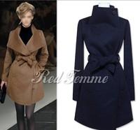 UK European 2014 New Fashion Nibbuns Coat Women Winter Woolen Navy White Black Brown Belt Long Trench Coat Casacos Femininots
