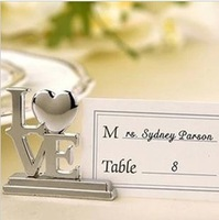 Free shipping 50pcs/lot Wedding favor LOVE Metal Place Card Holder with Matching Place Card Silver wedding decoration accessory