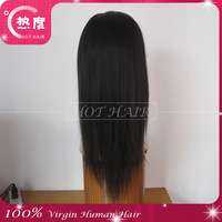 free shipping AAAAA+  grade virgin Indian hair silky straight  lace front wig