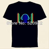 Headphone Equalizer El music activated t-shirt El panel t shirt el flashing t-shirts Free shipping