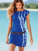 2013  New Arrival Summer Cool Fashion Short Sleeve Women's Clothing One-Piece Dress Free Shipping White Blue Red With Belt