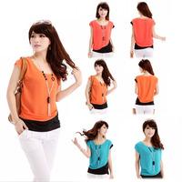 Womens Elegant Block Color Casual Chiffon Loose Blouse Short Sleeve Shirt