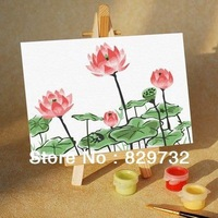 DIY digital oil painting Free shipping picture unique gift home decoration 10X15cm Summer Lotus in full bloom paint by number