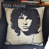 "Free Shipping 18"" Jim Morrison Portrait The Doors Retro Vintage Style Linen Decorative Pillow Case Pillow Cover Cushion Cover"