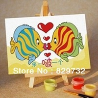 JIUJIU DIY digital oil painting Free shipping the picture unique gift home decoration 10X15cm Sweet kiss fish paint by number