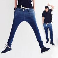 Harem jeans men Skinny Casual Trousers for men Hip Hop Denim Bape Baggy Long Pants Blue Black