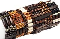 Wholesale 5PCS Mixed Style Wood Wooden Beads Lady Bracelet Bangle Elastic Cuff