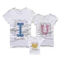 Plus size fashion summer family set 2013 set clothes for mother and son clothes for mother and daughter short-sleeve T-shirt iou