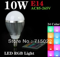 RGB E14 10W LED Bulb Lamp with Remote Control AC85-265V 24Color High Brightness