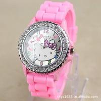 Hello Kitty Watch Single diamond dial Silicone strap watches fashion candy color band shiny Dropship10pcs/lot