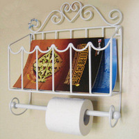 Creative Iron Art Toilet Paper Holder Wall Mount Bathroom Paper Towel Holder Four Color Black White Bronze Copper Bronze Color