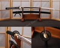 Full Black White Rayskin Japanese Sword Katana Full Tang Can Cut Bamboo HA005