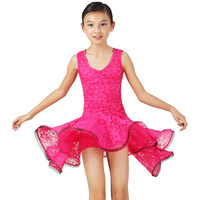 2013 new arrival lace pumping V-neck sleeveless child Latin dance skirt one-piece dress fy056 ballroom show dress pink blue