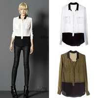 2013 Hot Sale!New Fashion  Womens Turn-down Collar Assorted Color Long Sleeve Chiffon Patchwort Shirt Tops Blouses Free Shipping