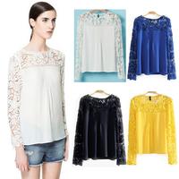 Blouses & Shirts 2014 summer chiffon blouse \ stitching lace long-sleeved shirt \ Neck - hollow - Fashion shirts free shipping