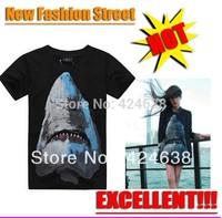 Sexy! shark Comfotable  Rottweil black Print shirt Women Summer T shirt MEN fashion Tops Rhinestone Short Sleeve tshirt GIV CT04