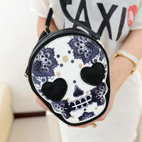 2013 New Chic Retro Skull Purse Handbag Black Shoulder Bag PU Leather Messenger Bag M02-160