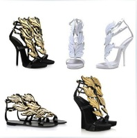 GZ Sandals Gold Leaf Women Fashion Pumps Flame Wings High Heel wedge Shoe Party Wedding Stiletto Sexy Summer Genuine Leather