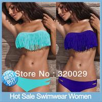 Free Shipping Hot Sale Swimwear Women Padded Boho Fringe Bandeau Top and Bottom tankini Lady Bathing suit