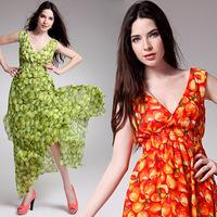 Wholesale new women's V-neck bandanna split the cake and put on a large waist silk chiffon dress 8081 #