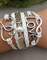3pcs Best friend gift Infinity love ring bracelet-pearl wings bracelet-Double heart bracelet--boyfriend   1318 Mini order 10$