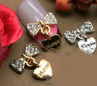 Free Shipping 2013 New Bow Nail Art 3D Decoration DIY Nail Jewelry Alloy Rhinestone 100Pcs