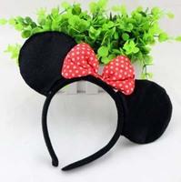 Wholesale 20pcs/lot Cute Minne Mickey Mouse Ear Headband With Bow Children Cartoon Headwear Halloween Cosplay Hair Accessory