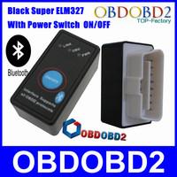 Big Promotion ELM 327 With Power Switch ON/OFF OBD2 Diagnostic and Code Reader ELM327 Interface Super ELM Black