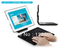 New 360 degree rotating Case Cover Stand Wireless Bluetooth Keyboard for iPad 2/3/4 new iPad Free Shipping-Black