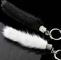 Crystal Marten Fur Keychain Metal White,Black Fur Car Key Rings gifts for friends,Lover free shipping