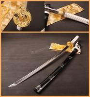Beautiful Decoration Hand Forged Japanese Katana Sword White Hilt Black Saya Iron Tsuba Sharp Edge * ESA04