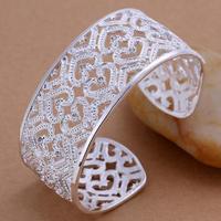 Love Bracelet 925 Silver Plated Hollow Cuff Bracelets & Bangles Fashion Jewelry Women Metallic Wide Bangle Wholesale SPCB166