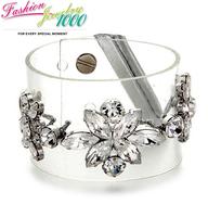 New Vintage Crystal Flower Transparent PVC  bracelets & bangles For Women Fashion Designer Lady Jewelry Free Shipping