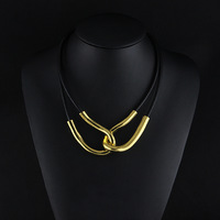 Free shipping 2014 Fashion Jewelry Vintage Choker Necklace Chunky Leather Bib Statement Necklace for Women Ladies