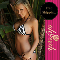 Hot Images Black And White Striped Top And Thong Sexy Triangle Bikini Set Bathing Suits Brazilian Bikinis DY3066