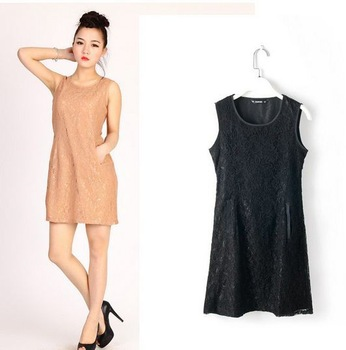 2013 free shipping ,Newest hot sale Sweet Fashion Cozy Lace  Sleeveless  round neck three color dress  LF5820