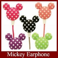 Cheaper 9 Colors 3.5mm Mini Cute Cartoon Mickey Earphone Headphone in-ear Earphone  Free Shipping 10pcs/LOT
