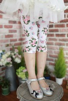 wholesale child girls floral pants girl's flowers print skinny leggings kids trousers bottom free shipping 5pcs/1lot