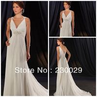 Free Shipping Floor Length A line Natural Waist White/Ivory Chiffon Spaghetti Strap Sweep Train Pregnant wedding dress B13021