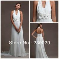 2014 Newly Designed A-line Long White Chiffon With Bedas&Flowers Halter Low Back Custom Made Maternity Wedding Dress B13016