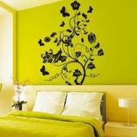 PVC wall stickers wallpaper for bedroom  living room TV wall 50x70cm Large Epiphyllum Free shipping