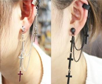 Free shipping Punk style personality clip earrings New metal tassel cross earrings for women RuYiEHL004