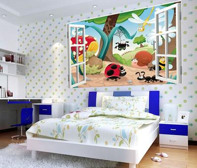2014 3D Window Scenery-Animal World Kids Nursery Wall Sticker Decals Baby Decor GL02(China (Mainland))